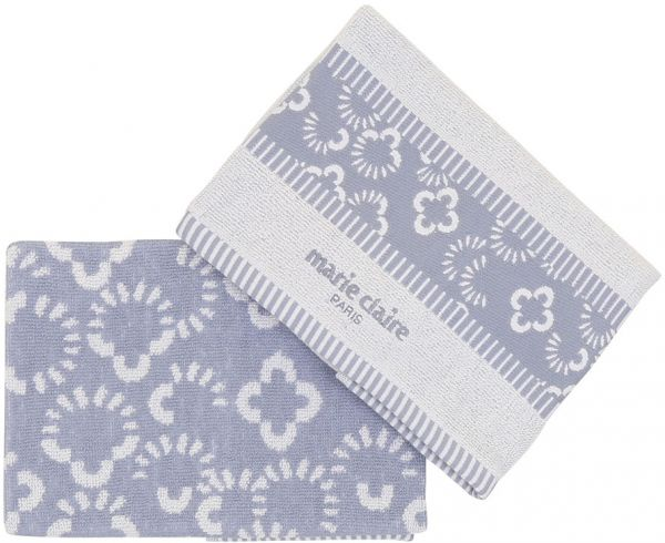 Marie Claire Cotton Etoile Kitchen Towel Set   Blue/White   Pack Of 2
