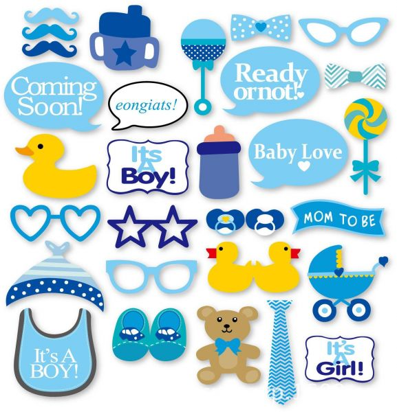 30pcs Set Baby Shower Photo Booth Props Photobooth It S A Boy Girl