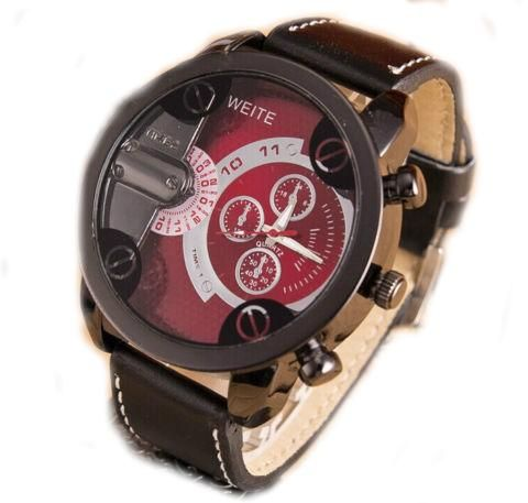leather watch weite sport military business analog fashion watches men racing product s luxury