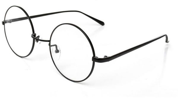 95c54406a4 Metal Round Retro Eyeglasses Oversized Black Frame Flat Glasses ...