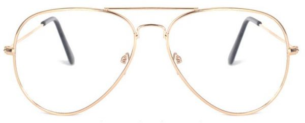Aviator Metal Frame Flat Light Glasses Gold Big Frame Driving ...
