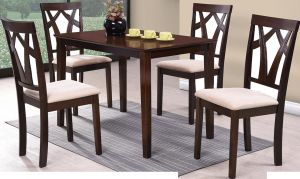 Wooden Dining Table Set With 4 Chairs Brown