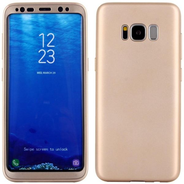on sale 02c60 bc5f4 S8 plus Case 360 Degree Full Body Slim Fit Lightweight Soft Protective Case  Cover with Tempered Glass for Samsung Galaxy S8 plus -GOLD
