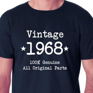 e1833a29d7149 Vintage 1968 100 Percent Genuine All Original Parts Navy Blue Round Neck  T-Shirt For Men