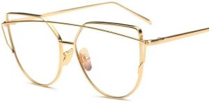ee7c1aacbfb Vintage Cat Eye Glasses for Women Gold Frame Clear Lens Eyewear