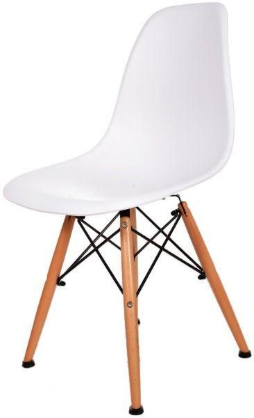 Addison Plastic Chair Ash Wooden Legs White Seat