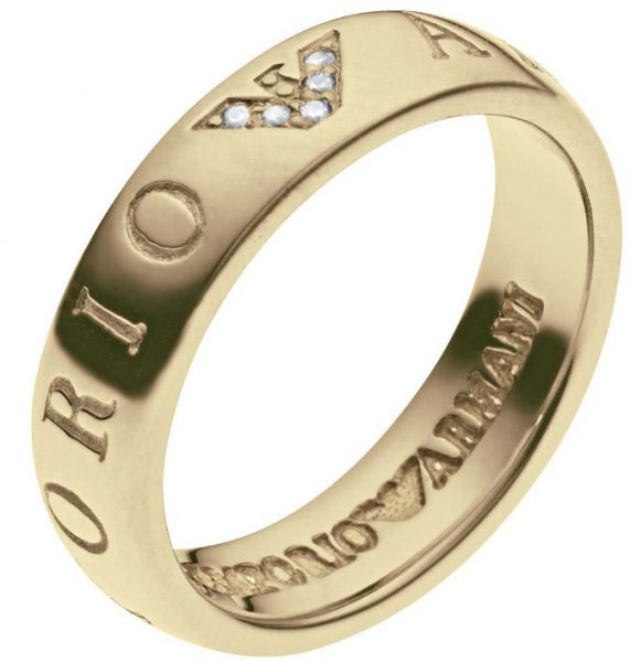 Emporio Armani Ring For Women Size 8 Gold Plated Crystals Eg3145710 180