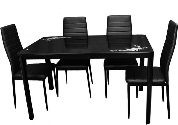 Zena Metal And Glass Dining Table Set With 4 Chairs Black 130 Cm X