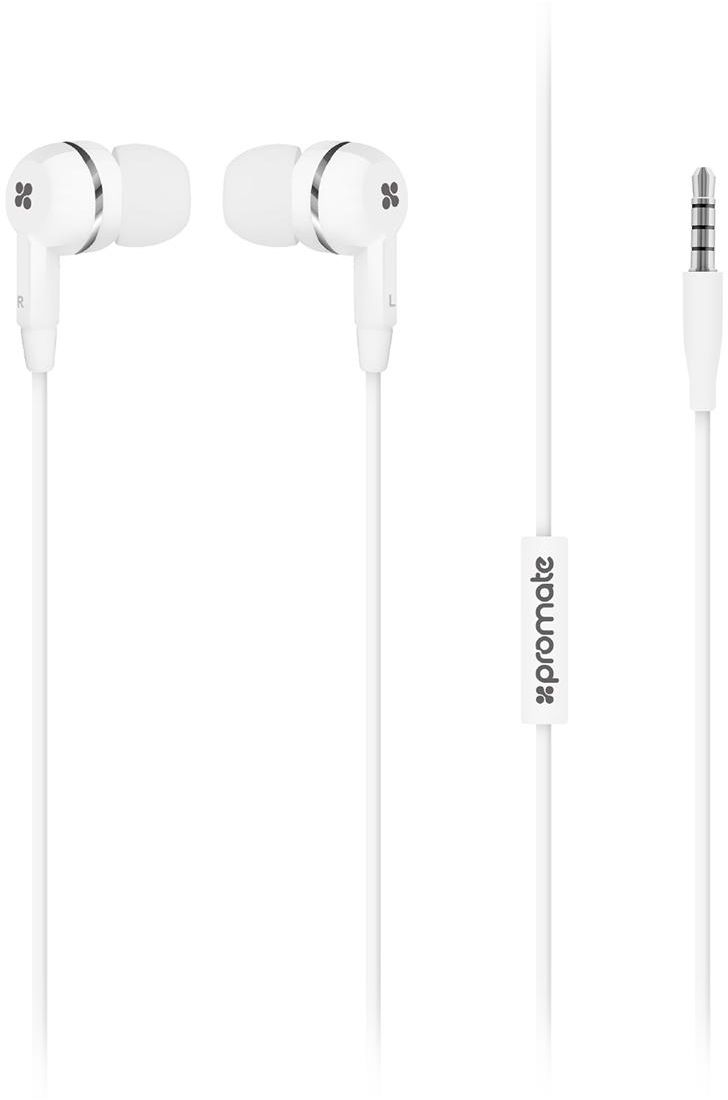 Promate Earphones, Universal 3.5mm Multi-Functional In-Ear Stereo Hands-Free Headphones with Built-In Mic for iPhone 7 / 7 Plus, Samsung Galaxy S8 / S8+, Tablets, Laptops, EarMate-iS - White