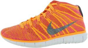 affordable price on sale buy sale Nike Free Flyknit Chukka Running Shoes for Women, Atomic Mango/Wolf  Grey/Pink Glow/White
