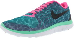 Nike Free 4.0 V5 Print Running Shoes for Women, EmeraldBlackPink