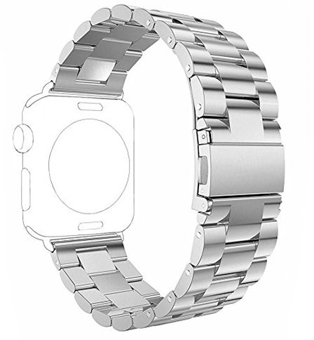 For Apple Watch 38mm - Solid Three Links Stainless Steel Metal Band Loop For Apple iWatch 38mm Silver