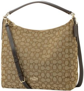 1c07ea14c3bc7 Coach F58327 IMC7C Outline Signature Celeste Convertible Hobo Bag - Khaki   Brown