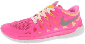 best sneakers b429d 3ab2e Nike Free 5.0 Gradeschool Running Shoes for Girls, Pink Glow Metallic  Silver White
