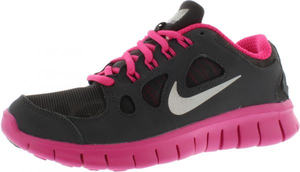 Nike Free 5.0 Shield Gradeschool Running Shoes for Girls, Dark  CharcoalMetallic SilverPink Flow