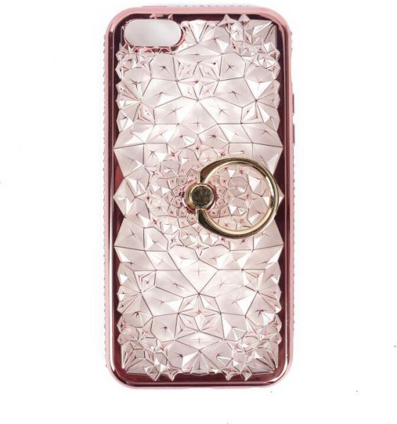 Iphone SE 5S diamonds case fashion women silicone transparent cover stand  ring back shell  890cf534a5