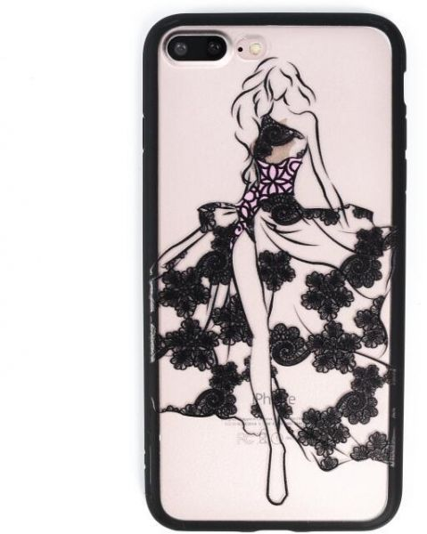 TPU back case for Iphone7 plus women lovely cartoon relief cover lace back  shell screen protector  81b08ffe6