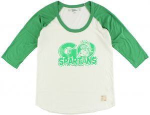 Distant Replays Michigan State Spartans College Baseball Raglan Sport Top for Women, White/Green