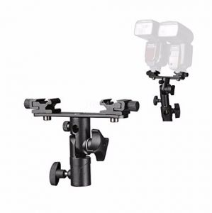 Black Double Hot Shoe Flash Umbrella Holder Light Stand Bracket for most flash lamp For Photo Video Photography