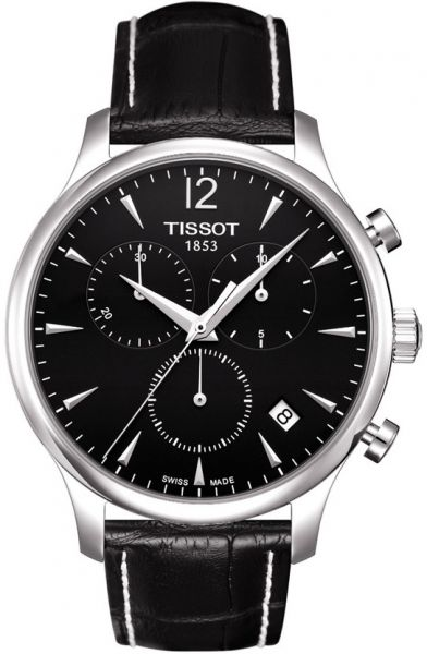 Tissot T-Classic Tradition Chronograph Men's Black Dial Leather Band Watch - T063.617.16.057.00