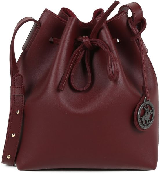 Beverly Hills Polo Club Bucket Bag For Women Claret Red