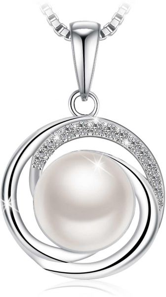 Souq swarovski elements 925 sterling silver pearl pendant necklace swarovski elements 925 sterling silver pearl pendant necklace for female women ladies girls gift jewelry jr692 aloadofball Images