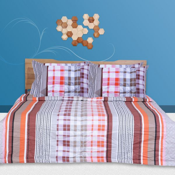 Souq | 6 Pc Duvet Cover And Bed Sheet Set, Queen Size, 100% Cotton 200 TC    Twill Abstract, Multicolor  White, Orange And Brown Bedding Set By Just  Linen | ...