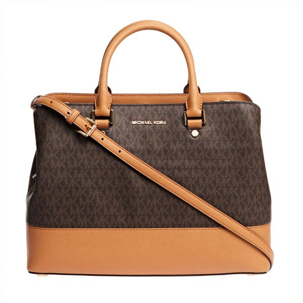 Michael Kors Savannah Monogram Satchel Bag For Women Brown