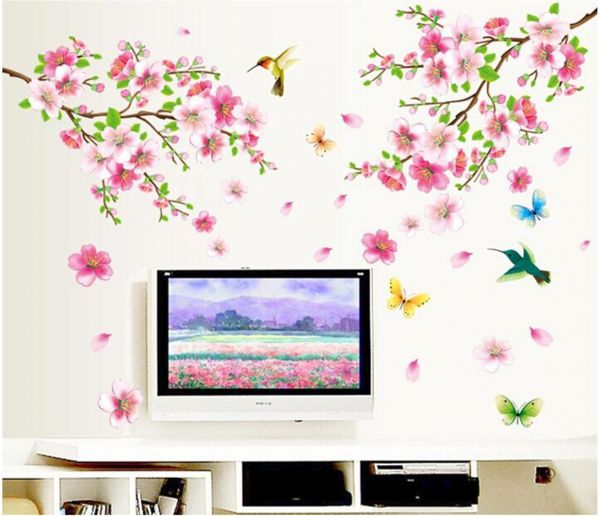 butterfly flower wall stickers self - adhesive bedroom tv background