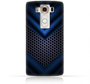 LG V10 TPU Silicone Case With Abstract Blue Mesh Pattern Design