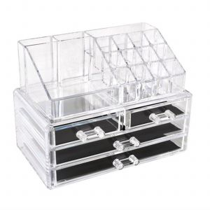 748dc09d0299 Clear Acrylic Cosmetic Organizer Makeup Holder Display Jewelry Storage Case  4 Drawer For Lipstick Liner Brush Holder