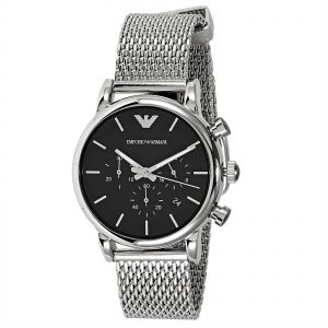 615b3781b Emporio Armani Men's Black Dial Stainless Steel Band Watch - AR1811