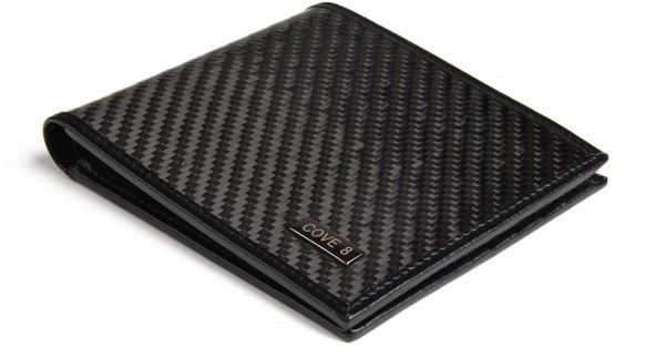 317379b8ea0 Carbon Fiber Wallet for Men Black Genuine Leather RFID Blocking Bifold with  Gift Box (Black Stitching)