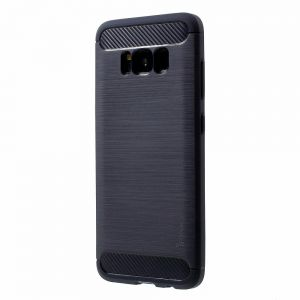 For Samsung Galaxy S8 G950 - IPAKY Brushed TPU Case Cover with Carbon Fiber Decorated - Dark Blue