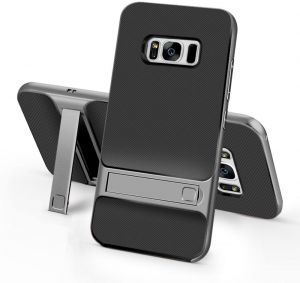 bc6f11d5f For Samsung Galaxy S8 Plus SM-G955 - ELEGANCE Grid Pattern TPU / PC Hybrid  Protection Case with Kickstand - Grey