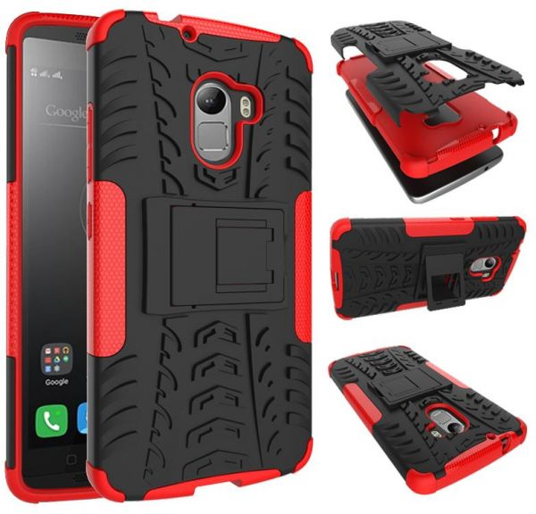 finest selection 65870 db06f Lenovo K4 Note - Hybrid TPU Armor Silicone Rubber Hard Back Impact Stand  Case Cover Red