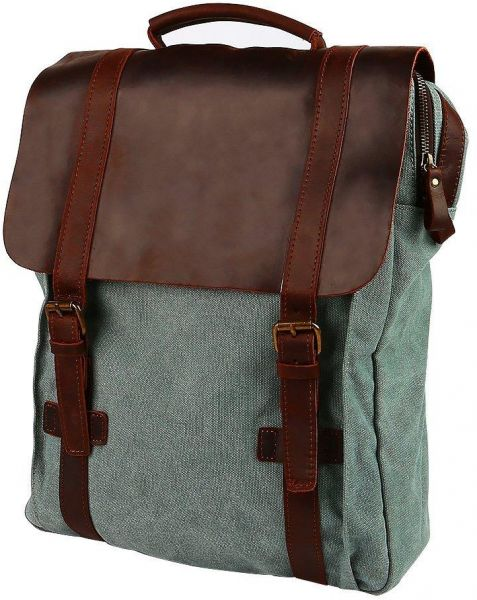 b654652a11be Travables 15.6 inches Laptop Bag Vintage Canvas Leather Backpack Casual  Daypack Retro Rucksack for Men Women Work Campus Outdoor Sports (Coral  Green)