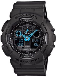 a41d386032fef Casio G-Shock Men s Blue Ana-Digi Dial Black Resin Band Watch - GA-100C-8AD