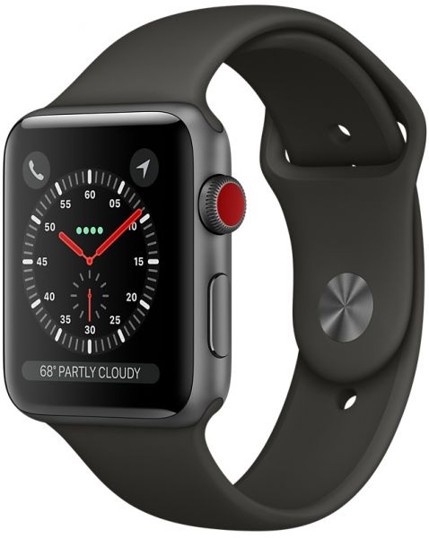 new products 20d1c a7f8d Apple Watch Series 3 - 38mm Space Gray Aluminum Case with Black Sport Band,  GPS+Cellular, watchOS 4, MQJP2