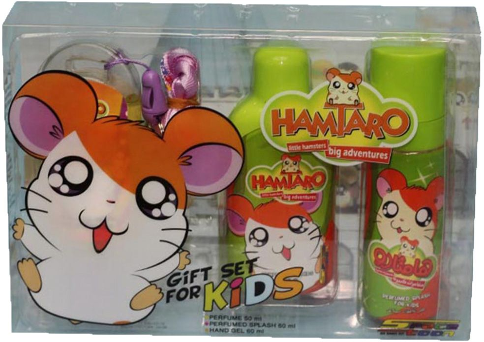 Hamtaro Perfume with Splash and Handgel by Space Toon for Boys - Assorted Fragrances, 170 ml, 3 Piece
