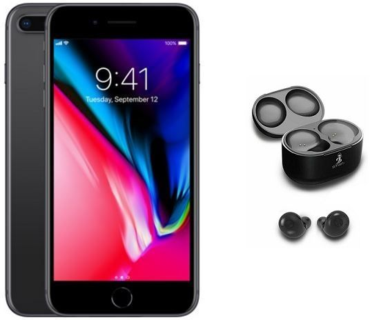 Apple iPhone 8 Plus without FaceTime - 64GB, 4G LTE, Space Grey + Smart  WiPod True Wireless EarBuds, Black