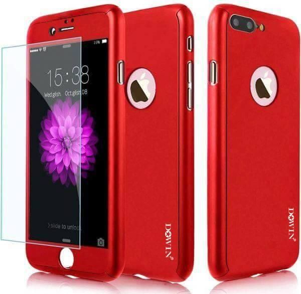 new product a0921 04b67 DOWIN 360 iPhone 8 PLUS Phone Protection Case Hybrid Tempered Glass + Hard  Case Cover red