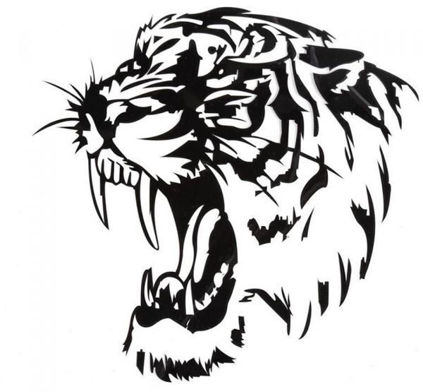 Reflective car sticker decals tiger head hood of car and motorcycle side car stickers steller black