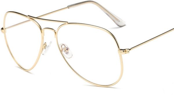 61eb498de61 golden Fashion alloy Round Eyeglasses Frame Spectacles Glasses ...