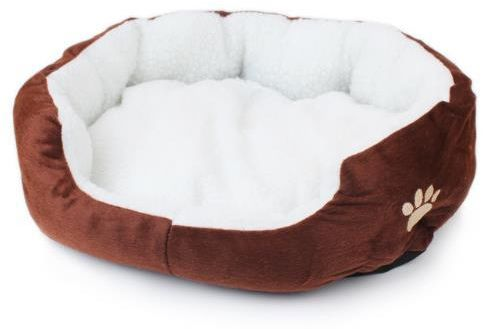 Pet Dog Beds Mats Dog House Puppy Cat Nest Candy Color Cashmere Sofa Kennel Pet Accessories - Brown