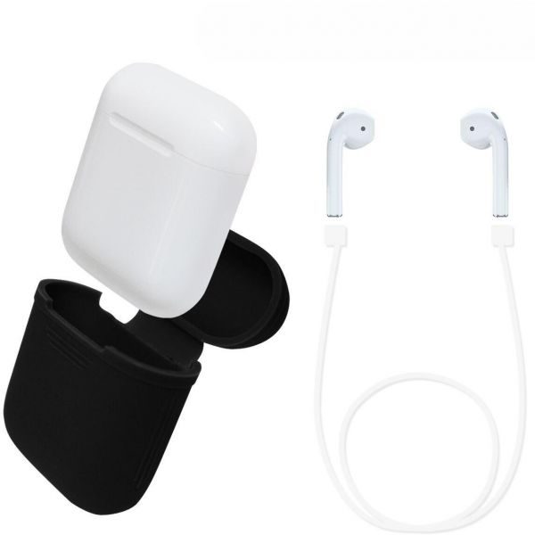 new product 2c436 094b5 Protective AirPods Case Soft Silicone Charging Cover Pouch Case Sleeve with  Cable - Black