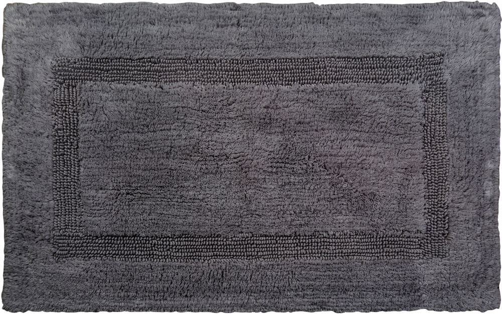 Cozy Reversible Inner Border Double Sided Bath Mat, Charcoal, 45cm x 61cm