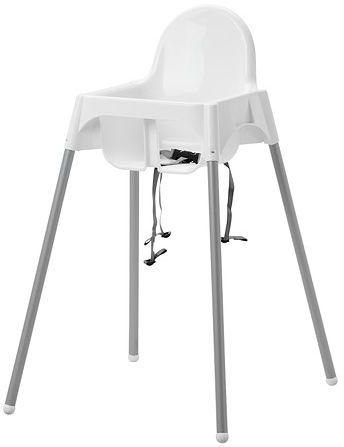 junior Chair with tray and seatbelt, White