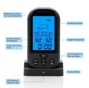 Digital Lcd Wireless Remote Kitchen Oven Food Cooking Meat Bbq Thermometer