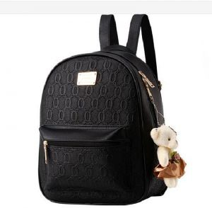 Korean Style 2 Pieces Backpack Set for Women and Girls - Black 603429e7152ed
